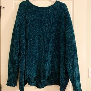Women's Plush Cable Knit Sweater 3XL emerald green